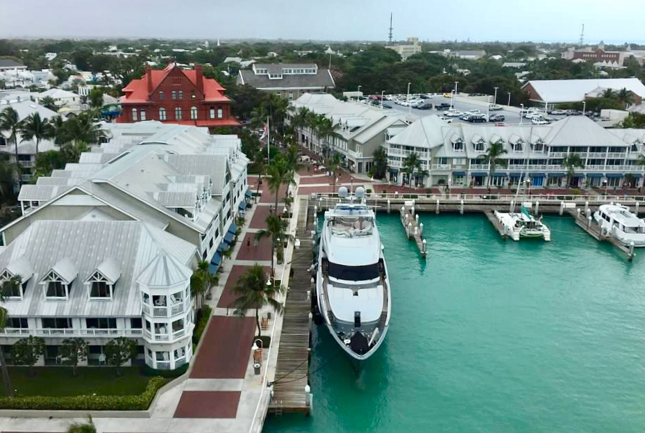Looking over Key West from the top deck of the Disney Wonder
