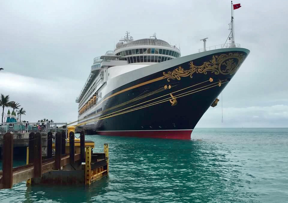 The Disney Wonder docked in the beautiful turquoise waters of Key West