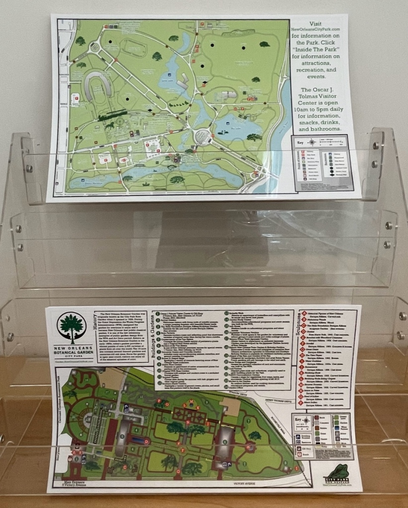 Maps of the New Orleans Botanical Garden and New Orleans City Park are available in the admissions center.