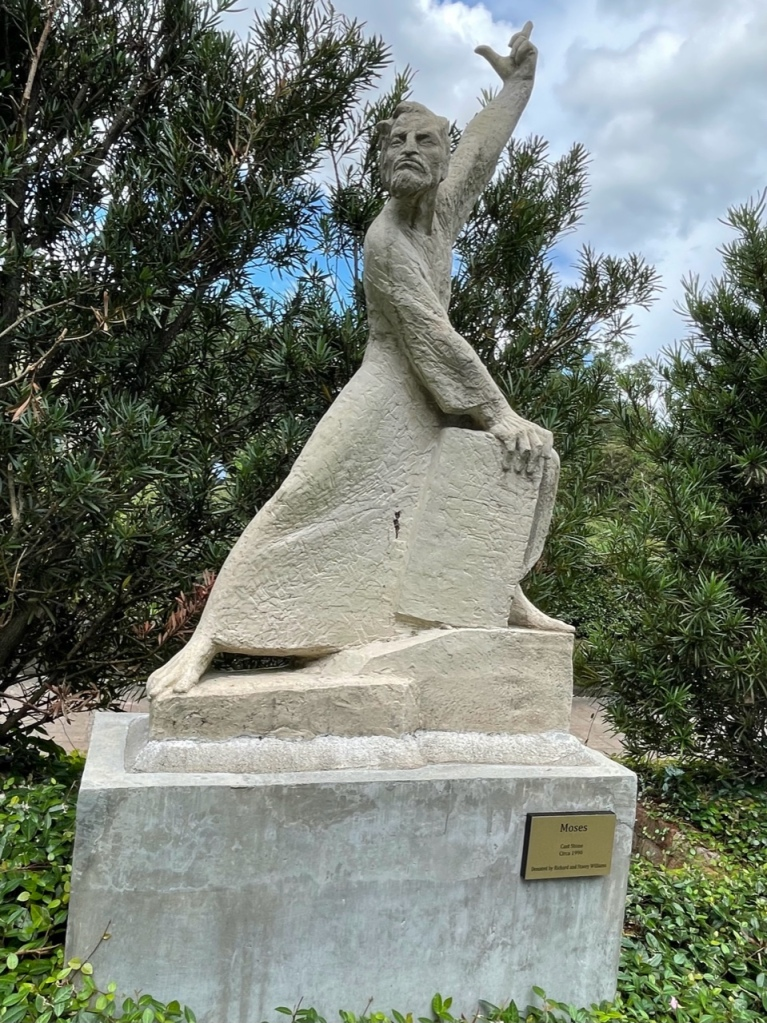 """The """"Moses"""" sculpture is made of cast stone."""